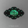 Art Masters Nature Inspired 14K Black Gold 1.0 Ct Oval Emerald Leaf and Vine Solitaire Ring R267-14KBGEM-2