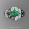 Art Masters Nature Inspired 14K White Gold 1.0 Ct Oval Emerald Diamond Leaf and Vine Solitaire Ring R267-14KWGDEM-2