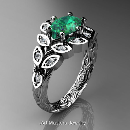 Art Masters Nature Inspired 14K White Gold 1.0 Ct Oval Emerald Diamond Leaf and Vine Solitaire Ring R267-14KWGDEM-1