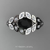 Art Masters Nature Inspired 14K White Gold 1.0 Ct Oval Black White Diamond Leaf and Vine Solitaire Ring R267-14KWGDBD-2