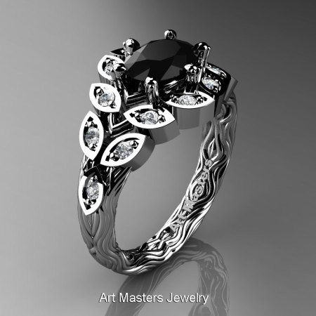 Art Masters Nature Inspired 14K White Gold 1.0 Ct Oval Black White Diamond Leaf and Vine Solitaire Ring R267-14KWGDBD-1