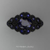 Art Masters Nature Inspired 14K Black Gold 1.0 Ct Oval Royal Blue Sapphire Leaf and Vine Solitaire Ring R267-14KBGBS-2