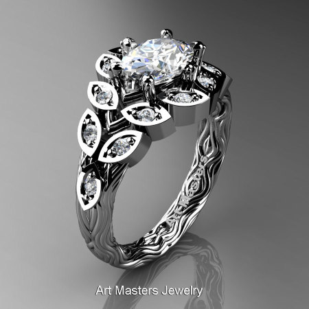 Art Masters Nature Inspired 14K White Gold 1.0 Ct Oval White Sapphire Diamond Leaf and Vine Solitaire Ring R267-14KWGDWS-1
