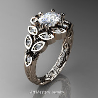 Art Masters Nature Inspired 14K Rose Gold 1.0 Ct Oval White Sapphire Diamond Leaf and Vine Solitaire Ring R267-14KRGDWS-1