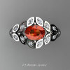 Art Masters Nature Inspired 14K White Gold 1.0 Ct Oval Orange Sapphire Diamond Leaf and Vine Solitaire Ring R267-14KWGDOS-2