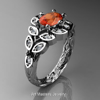 Art Masters Nature Inspired 14K White Gold 1.0 Ct Oval Orange Sapphire Diamond Leaf and Vine Solitaire Ring R267-14KWGDOS-1