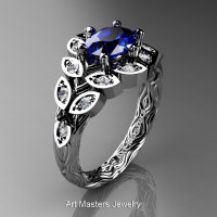 Art Masters Nature Inspired 14K White Gold 1.0 Ct Oval Royal Blue Sapphire Diamond Leaf and Vine Solitaire Ring R267-14KWGDBS-1