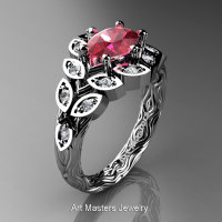 Art Masters Nature Inspired 14K White Gold 1.0 Ct Oval Ruby Diamond Leaf and Vine Solitaire Ring R267-14KWGDR-1