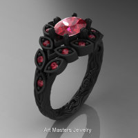 Art Masters Nature Inspired 14K Black Gold 1.0 Ct Oval Rubies Leaf and Vine Solitaire Ring R267-14KBGR-1