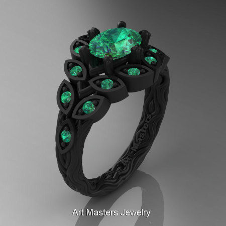 Art Masters Nature Inspired 14K Black Gold 1.0 Ct Oval Emerald Leaf and Vine Solitaire Ring R267-14KBGEM-1