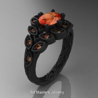 Art Masters Nature Inspired 14K Black Gold 1.0 Ct Oval Orange Sapphire Leaf and Vine Solitaire Ring R267-14KBGOS-1