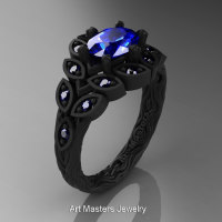 Art Masters Nature Inspired 14K Black Gold 1.0 Ct Oval Royal Blue Sapphire Leaf and Vine Solitaire Ring R267-14KBGBS-1