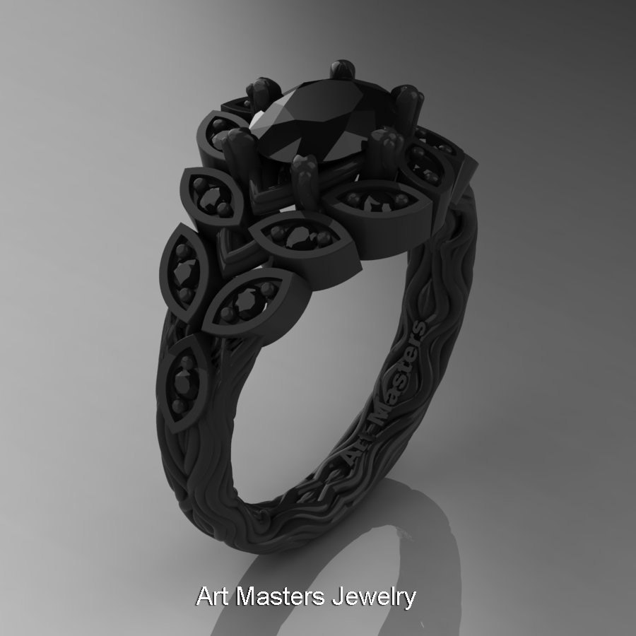 Art Masters Nature Inspired 14K Black Gold 10 Ct Oval Black Diamond Leaf And Vine Solitaire