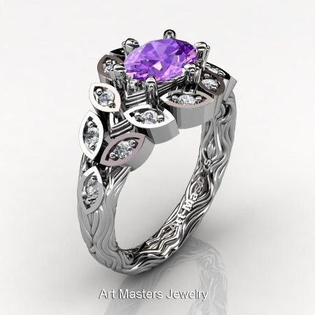 Art Masters Nature Inspired 14K White Gold 1.0 Ct Oval Amethyst Diamond Leaf and Vine Solitaire Ring R267-14KWGDAM-1