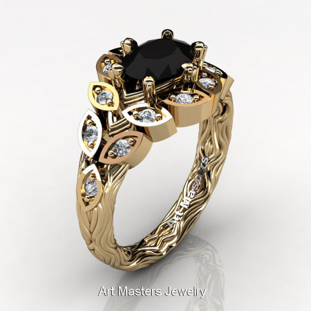 Art Masters Nature Inspired 14K Yellow Gold 1.0 Ct Oval Black White Diamond Leaf and Vine Solitaire Ring R267-14KYGDBD-1