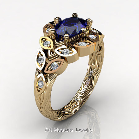 Art Masters Nature Inspired 14K Yellow Gold 1.0 Ct Oval Royal Blue Sapphire Diamond Leaf and Vine Solitaire Ring R267-14KYGDBS-1