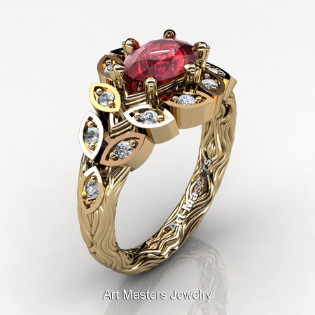 Art Masters Nature Inspired 14K Yellow Gold 1.0 Ct Oval Ruby Diamond Leaf and Vine Solitaire Ring R267-14KYGDR-1