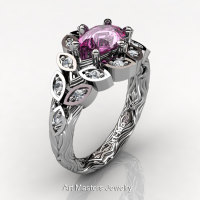 Art Masters Nature Inspired 14K White Gold 1.0 Ct Oval Pink Sapphire Diamond Leaf and Vine Solitaire Ring R267-14KWGDPS-1