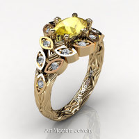 Art Masters Nature Inspired 14K Yellow Gold 1.0 Ct Oval Yellow Sapphire Diamond Leaf and Vine Solitaire Ring R267-14KYGDYS-1