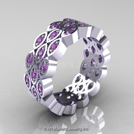 Art Masters Classic 14K White Gold Lilac Amethyst Womens Wedding Band R272BF-14KWGLAM-1