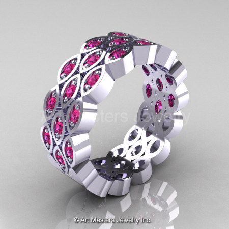 Art Masters Classic 14K White Gold Pink Sapphire Womens Wedding Band R272BF-14KWGPS-1