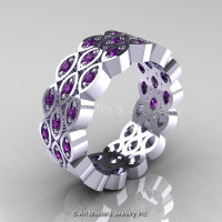 Art Masters Classic 14K White Gold Lavender Amethyst Womens Wedding Band R272BF-14KWGAM-1