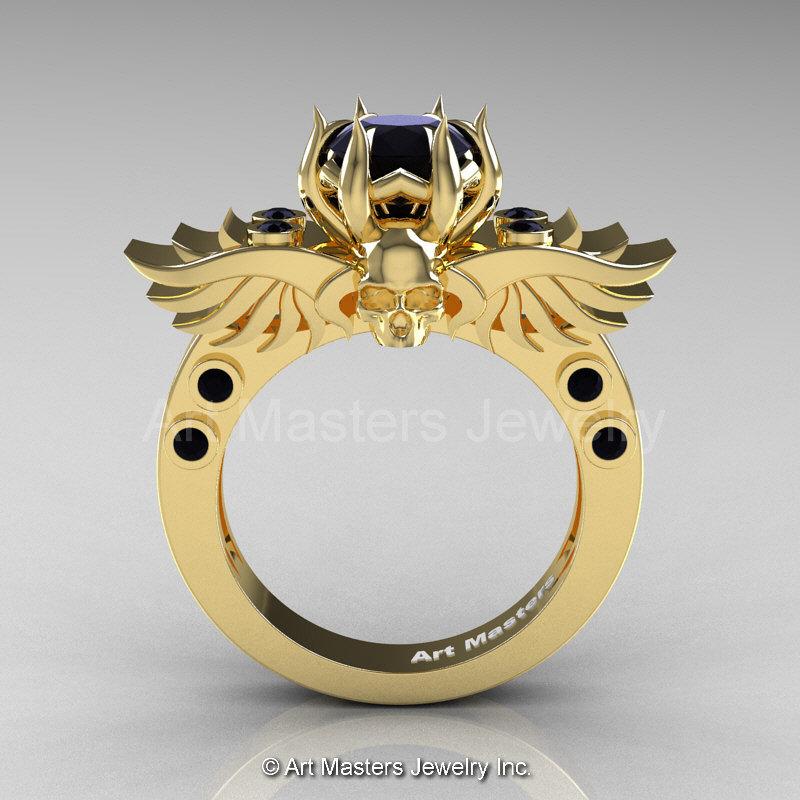 Art Masters Classic Winged Skull 10K Yellow Gold 1 0 Ct Black