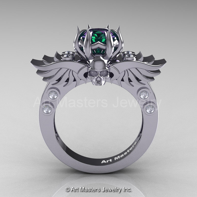 art masters classic winged skull 14k white gold 20 ct chrysoberyl alexandrite diamond solitaire engagement ring - Alexandrite Wedding Ring