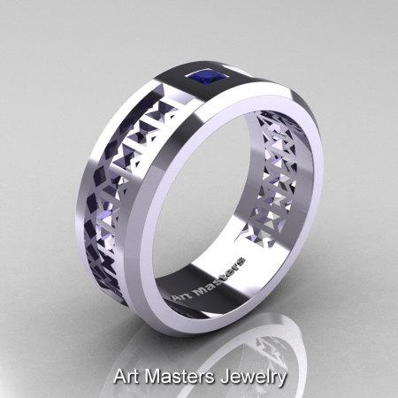Art Masters Mens Modern 10K White Gold Princess Blue Sapphire Wedding Band R384BM-10KWGBS-1