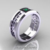 Art Masters Mens Modern 10K White Gold Princess Emerald Wedding Band R384BM-10KWGEM-1