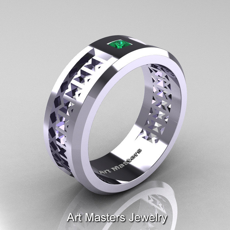 Art Masters Mens Modern 10K White Gold Princess Emerald Wedding Band R384BM 1