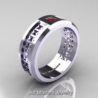 Art Masters Mens Modern 10K White Gold Princess Ruby Wedding Band R384BM-10KWGR-1