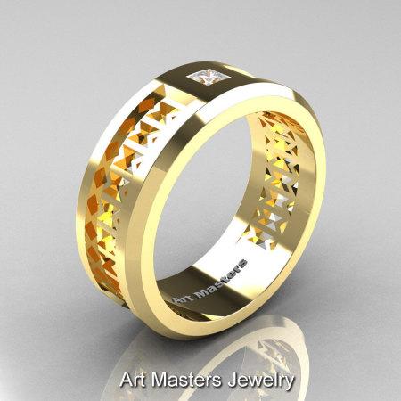 Art Masters Mens Modern 10K Yellow Gold Princess Diamond Wedding Band R384BM-10KYGD-1