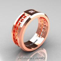 Art Masters Mens Modern 10K Rose Gold Princess Diamond Wedding Band R384BM-10KRGD-1