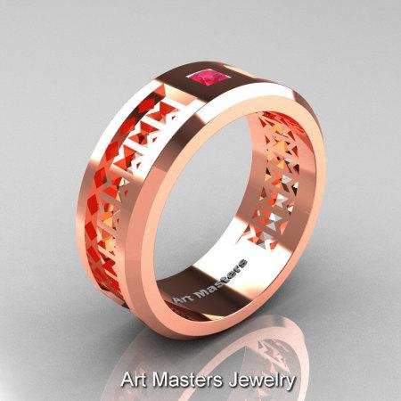 Art Masters Mens Modern 10K Rose Gold Princess Pink Sapphire Wedding Band R384BM-10KRGPS-1