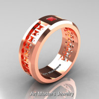 Art Masters Mens Modern 10K Rose Gold Princess Ruby Wedding Band R384BM-10KRGR-1