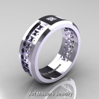 Art Masters Mens Modern 10K White Gold Princess Diamond Wedding Band R384BM-10KWGD-1