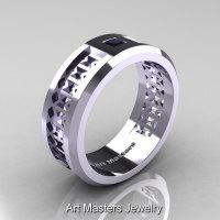 Art Masters Mens Modern 10K White Gold Princess Black Diamond Wedding Band R384BM-10KWGBD-1