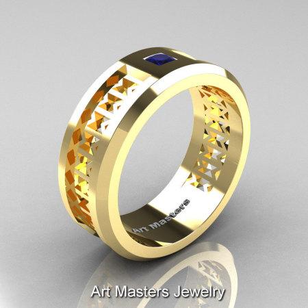 Art Masters Mens Modern 10K Yellow Gold Princess Blue Sapphire Wedding Band R384BM-10KYGBS-1