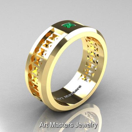 Art Masters Mens Modern 10K Yellow Gold Princess Emerald Wedding Band R384BM-10KYGEM-1