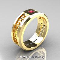 Art Masters Mens Modern 10K Yellow Gold Princess Pink Sapphire Wedding Band R384BM-10KYGPS-1