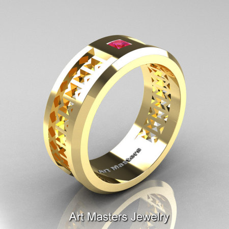 Art Masters Mens Modern 10K Yellow Gold Princess Pink Sapphire Wedding Band R384BM-10KYGPS-1