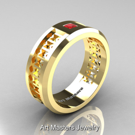 Art Masters Mens Modern 10K Yellow Gold Princess Ruby Wedding Band R384BM-10KYGR-1