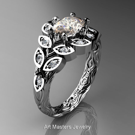 Art Masters Nature Inspired 14K White Gold 1.0 Ct Oval Morganite Diamond Leaf and Vine Solitaire Ring R267-14KWGDMO-1