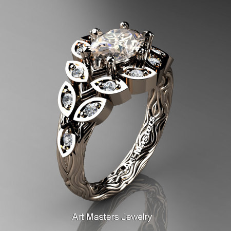 Art Masters Nature Inspired 14K Rose Gold 1.0 Ct Oval Morganite Diamond Leaf and Vine Solitaire Ring R267-14KRGDMO-1