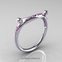 Modern Vintage 14K White Gold Light Pink Sapphire Flush Matching Wedding Band R167B-14KWGLPS-1