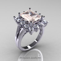 Modern Victorian 14K White Gold 4.0 Ct Morganite White Sapphire Engagement Ring R217-14KWGWSMO-1