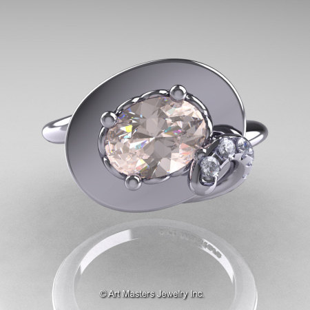 Art Nouveau 14K White Gold 1.0 Ct Oval Morganite Diamond Nature Inspired Engagement Ring R296-14KWGDMO-1