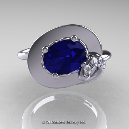 Art Nouveau 14K White Gold Oval 1.0 Ct Royal Blue Sapphire Diamond Nature Inspired Engagement Ring R296-14KWGDBS-1