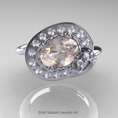 Art Nouveau 14K White Gold 1.0 Ct Oval Morganite Diamond Nature Inspired Engagement Ring R296A-14KWGDMO-1